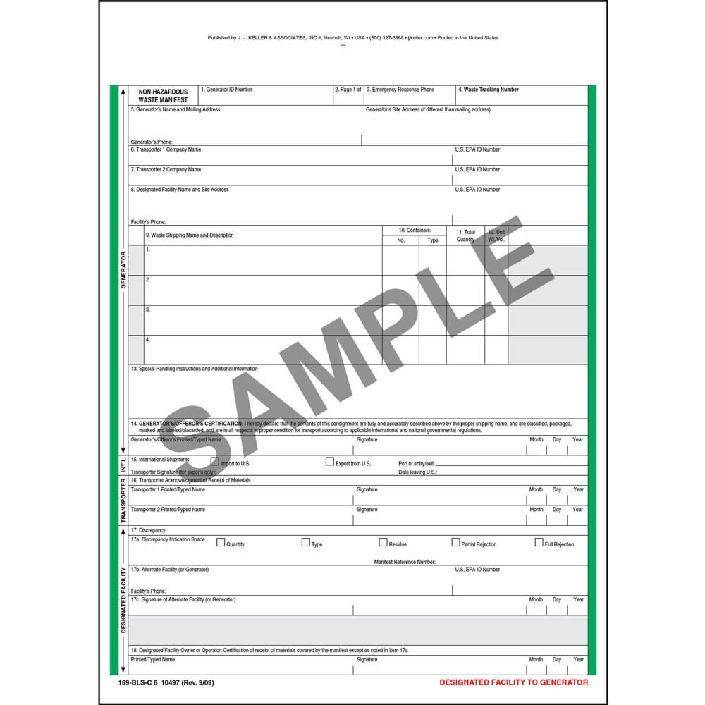 Non-Hazardous Waste Manifest - Snap-Out Format, 6-Ply on home automation examples, dynamic html examples, content examples, web application examples, service examples, place examples, variable data printing examples, valid sentences examples, game theory matrix examples, source examples, college application examples, completed job application examples, index card examples, rule examples, organization examples, data normalization examples, employment contract examples, time examples, wish list examples, space examples,