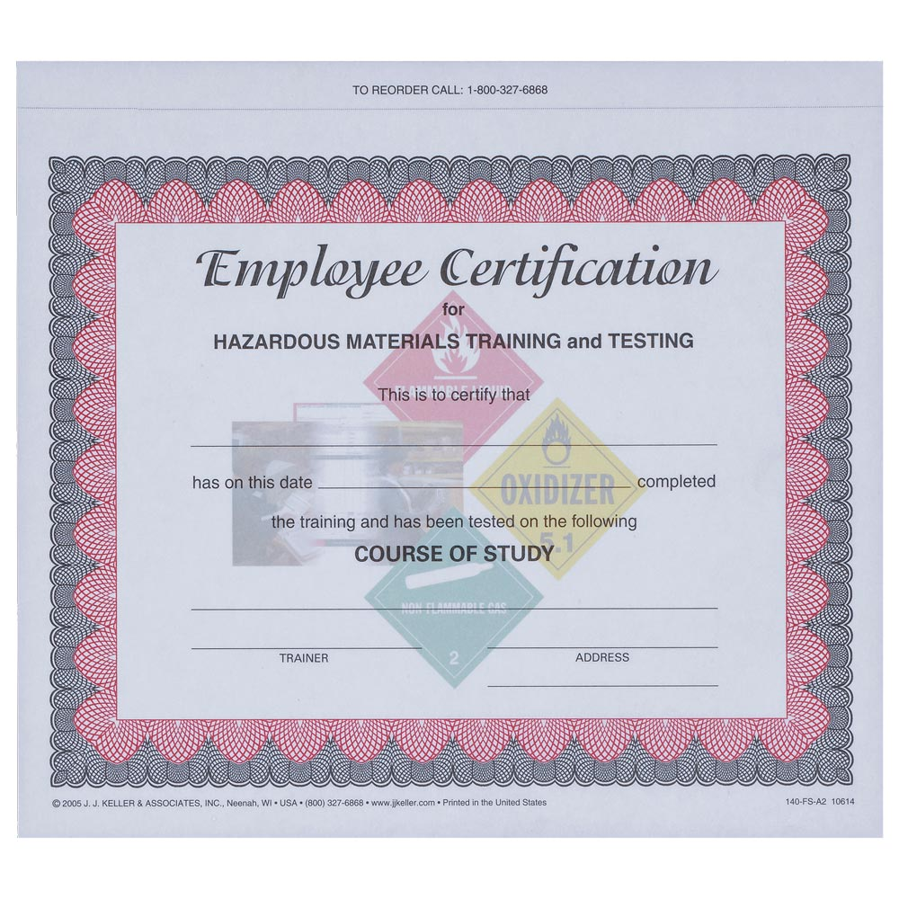 Hazmat employee training record certification form hazmat employee training certificate xflitez Gallery