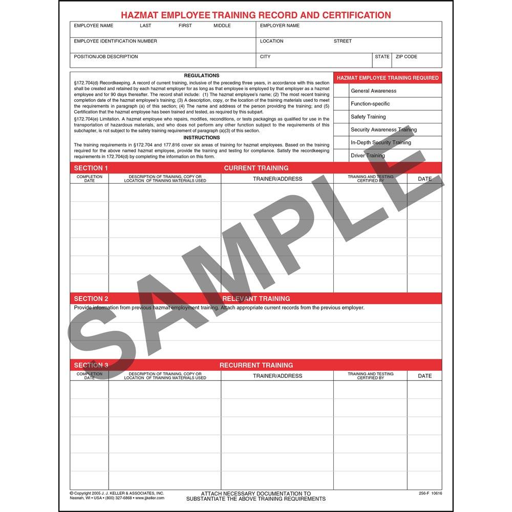 Hazmat Employee Training Record Certification Form