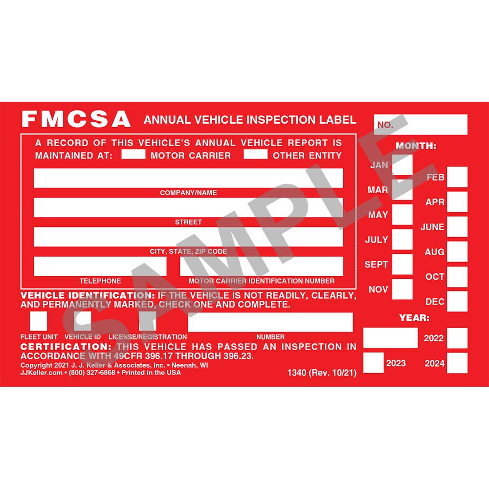 Annual Vehicle Inspection Label Aluminum W Punch Boxes