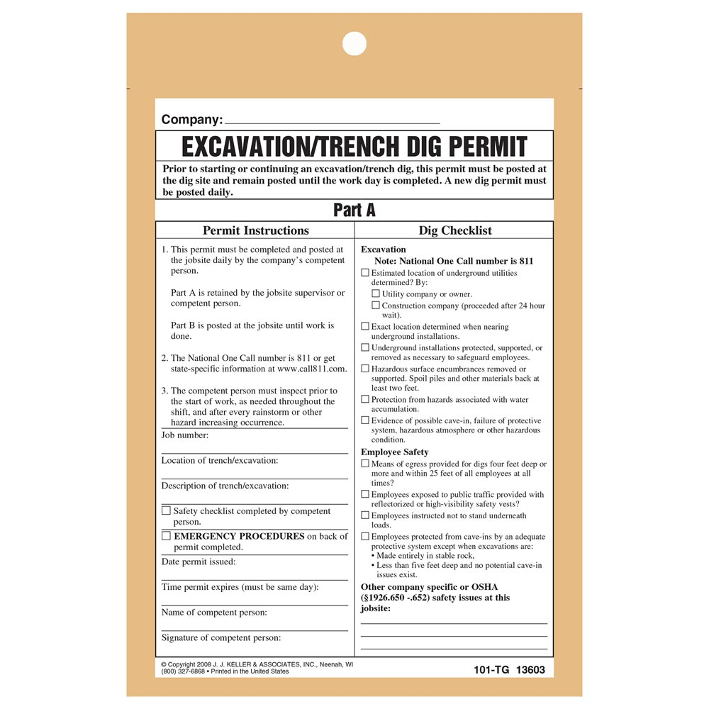 Hot work permit tag excavationtrench dig permit pronofoot35fo Image collections