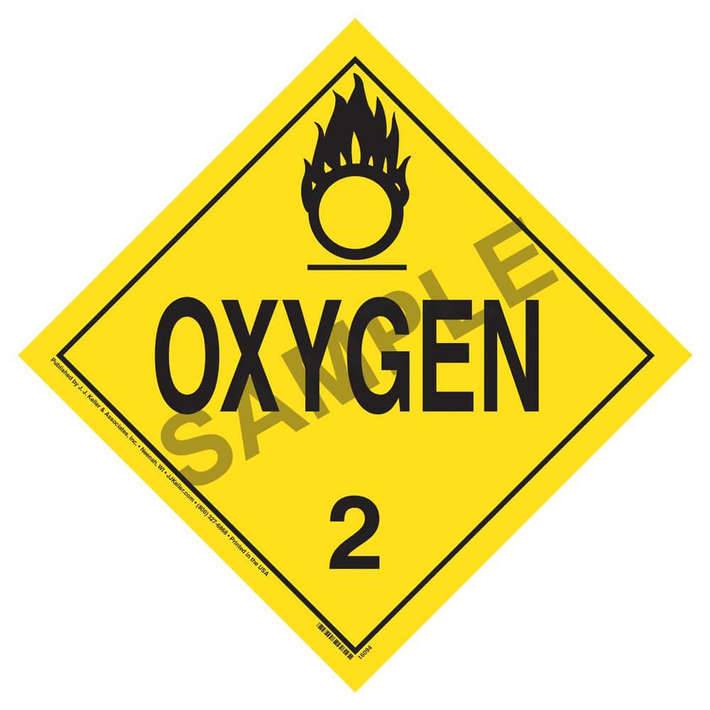 1073 Oxygen Placard Division 22 Oxygen