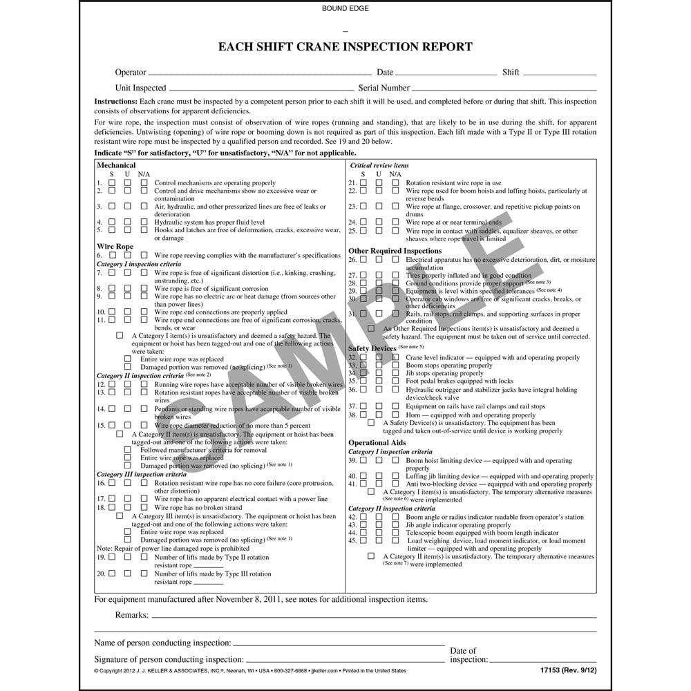 Each Shift/Monthly Crane Inspection Report Book