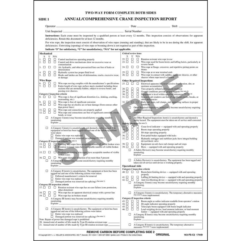 Annual/Comprehensive Crane Inspection Report