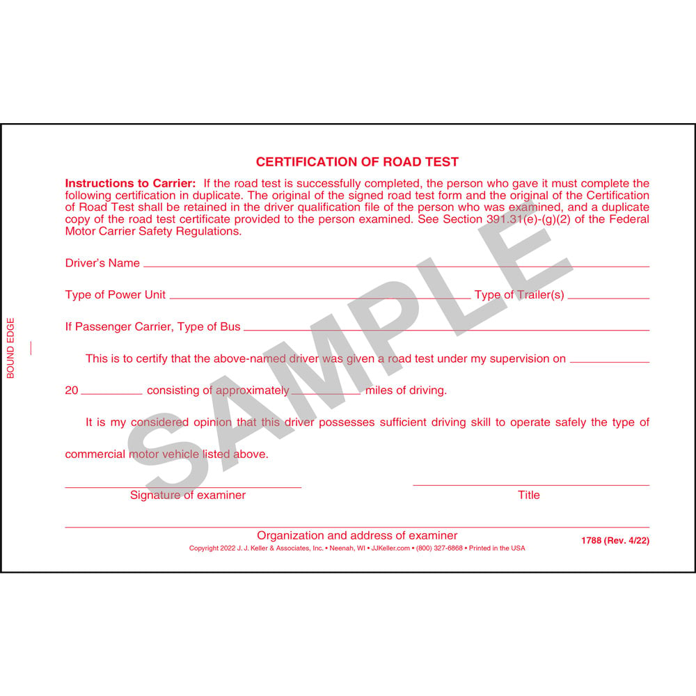 Certification of road test form with wallet card xflitez Images