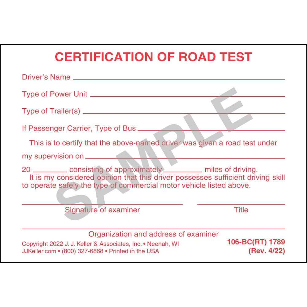 Certification of road test pocket cards 1betcityfo Image collections