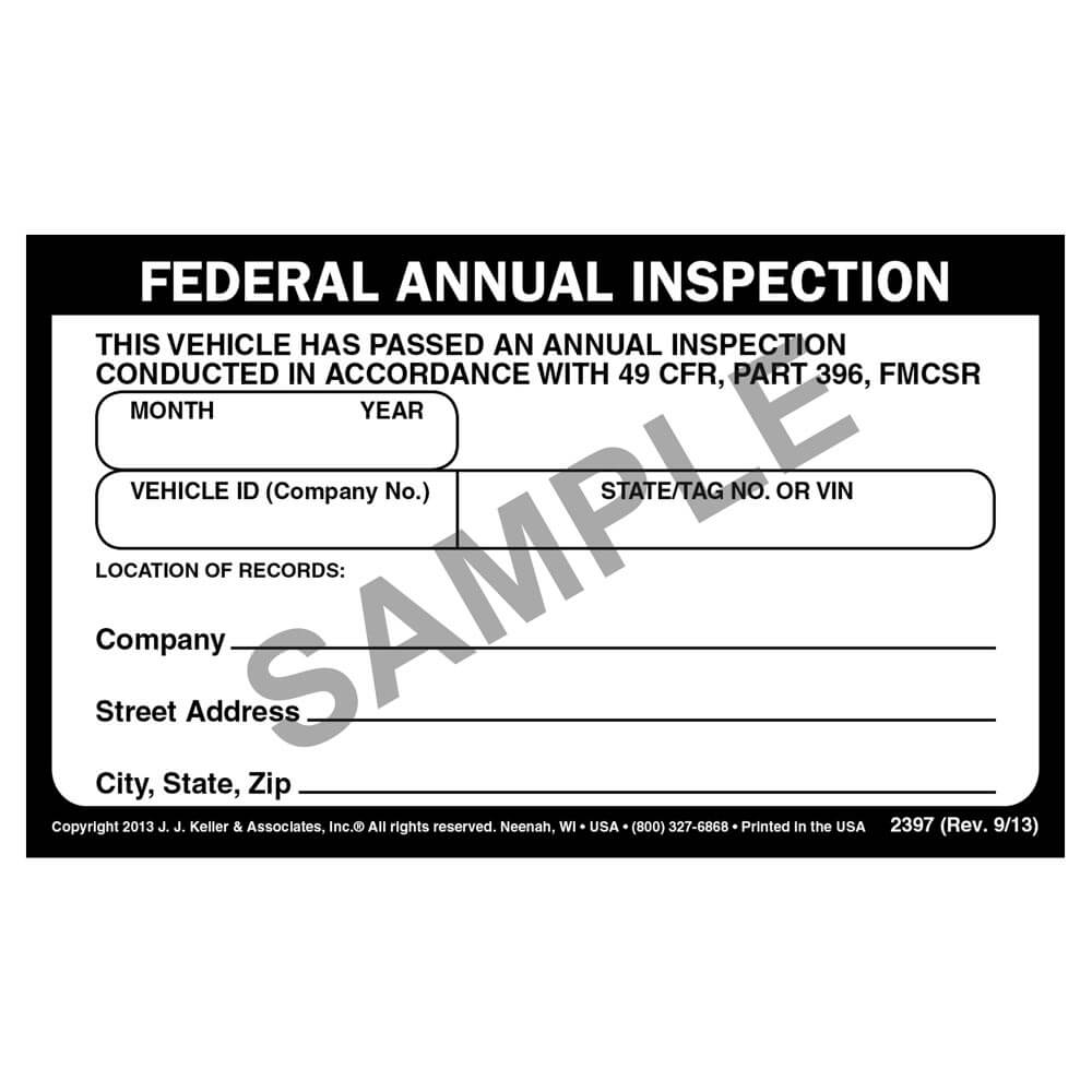 Record Of Annual Inspection Decal