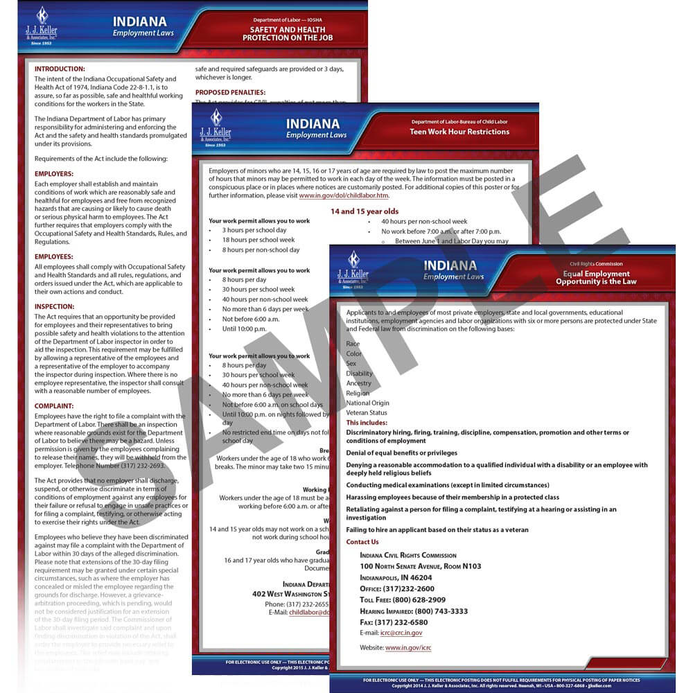 Indiana & Federal Electronic Labor Law Poster Management Service