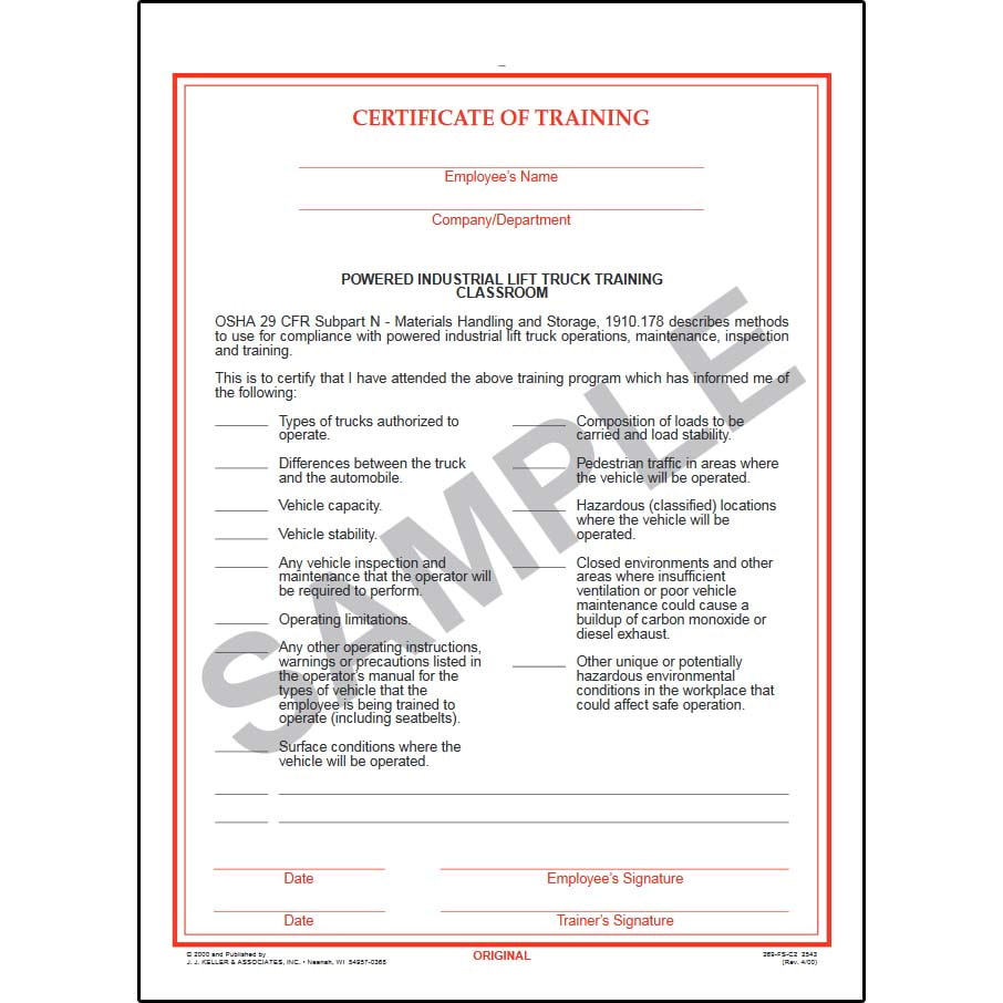 Powered industrial lift truck training certificate classroom xflitez Choice Image