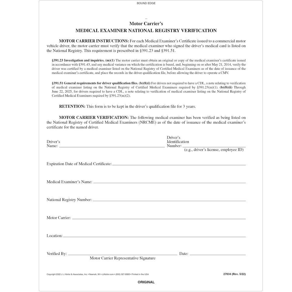Medical Examiner's National Registry Verification - Snap-Out Format