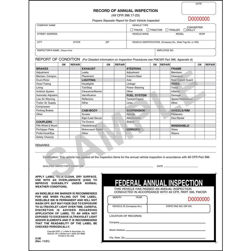 Record Of Annual Inspection Winspection Decal Stock