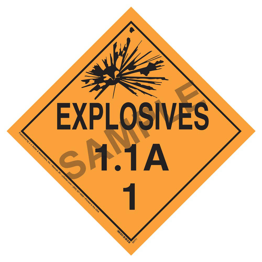 Division 11a Explosives Placard Worded