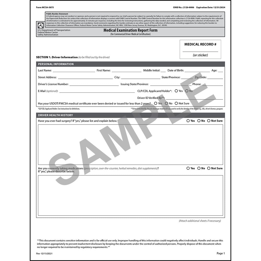 picture relating to Mcsa-5875 Printable Form referred to as Health-related Evaluation Post Variety