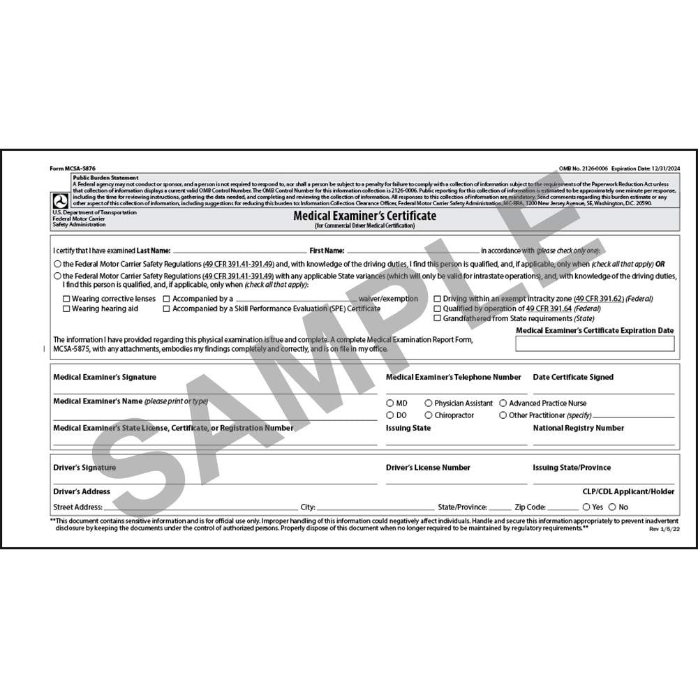 Medical Examination Certificate Large