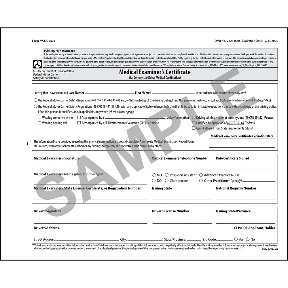 Medical Examination Certificate - Small