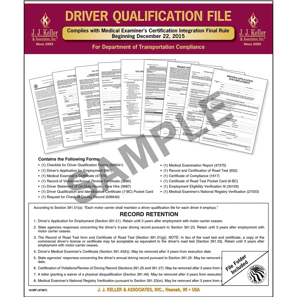 Driver Qualification File Packet (Two-Copy Forms) - Retail Packaging