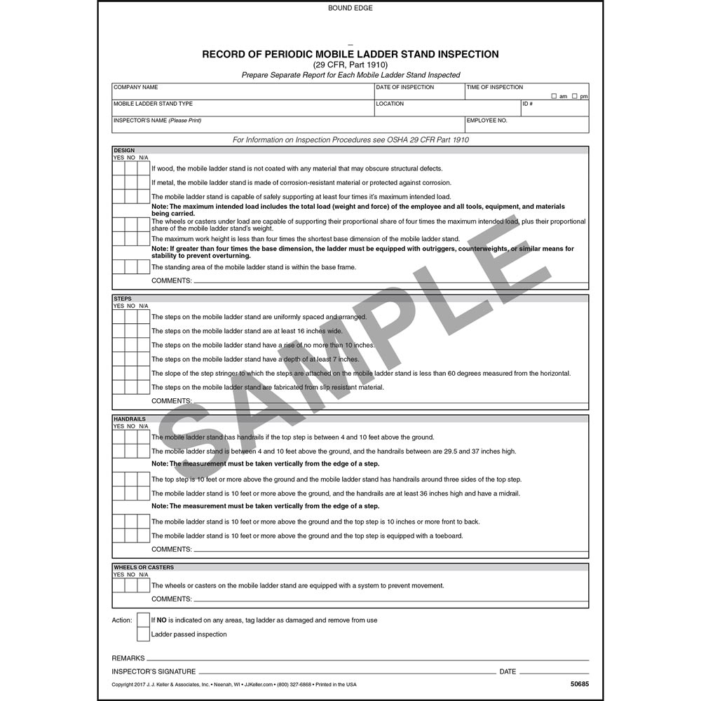 Periodic Mobile Ladder Stand Inspection Form Snap Out Format Stock
