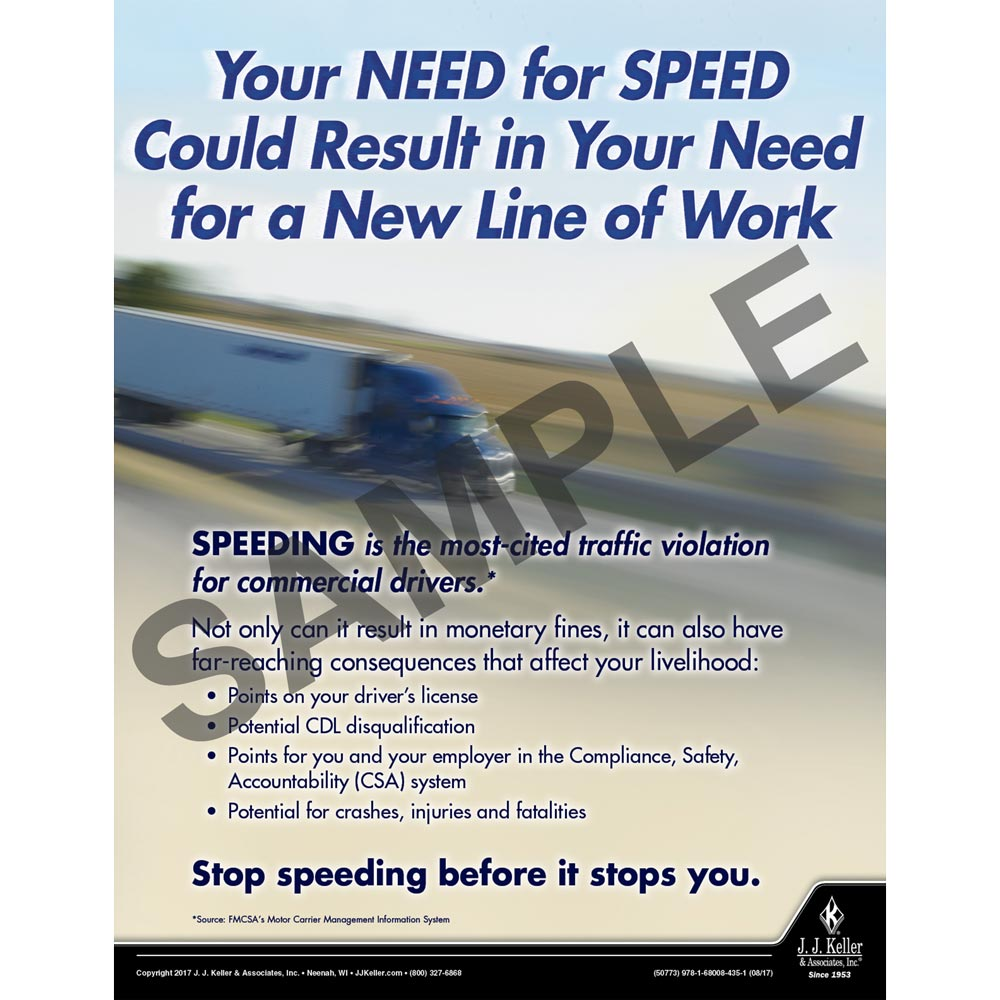 Your Need For Speed - Motor Carrier Safety Poster (012318)