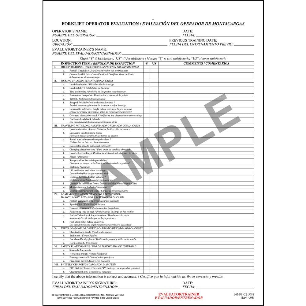 Forklift operator evaluation form spanish xflitez Gallery
