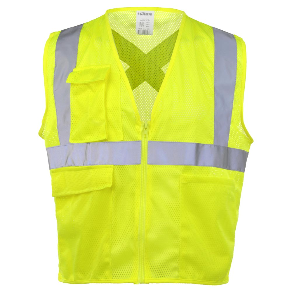 Pockets Neon Green Safety Vest with Reflective Strips Safety Work Vest Class US