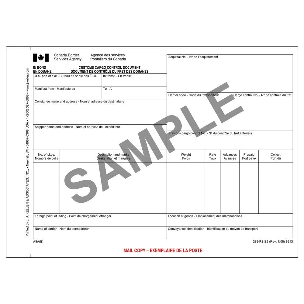 customs cargo control document