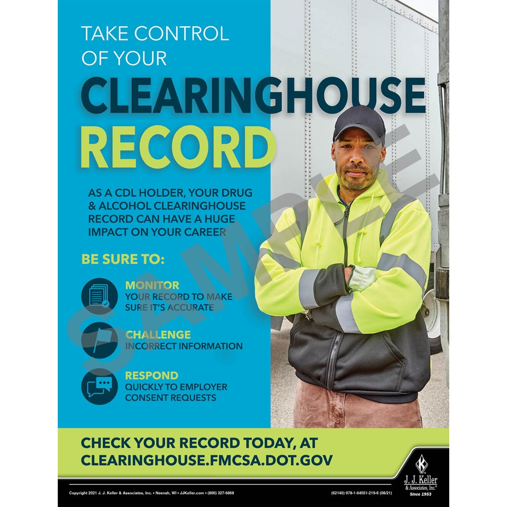 Take Control Of Your Clearinghouse Record - Motor Carrier Safety Poster (017664)
