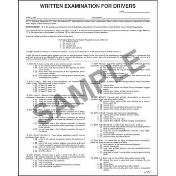 Driver's Written Examination Form