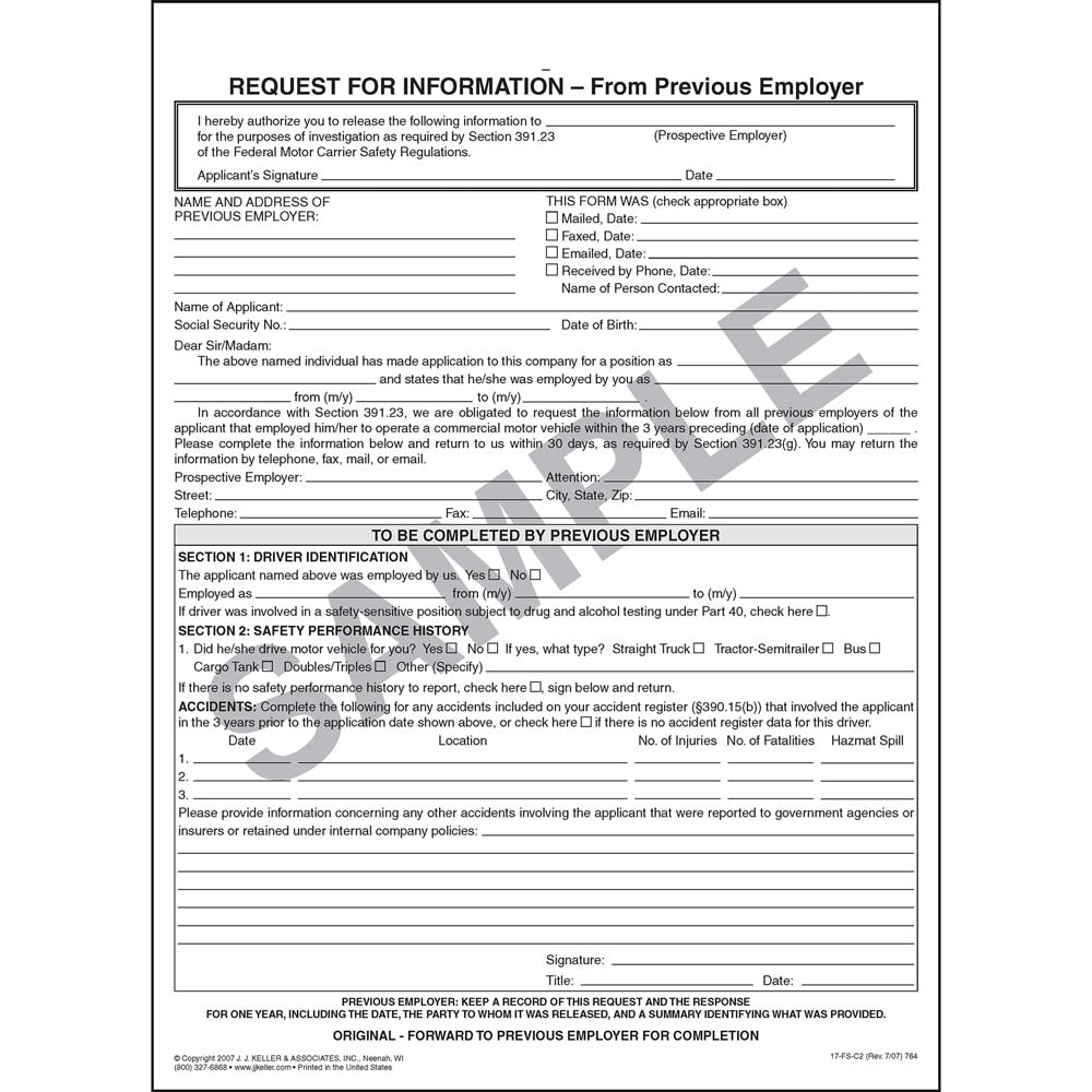 request for information from previous employer template