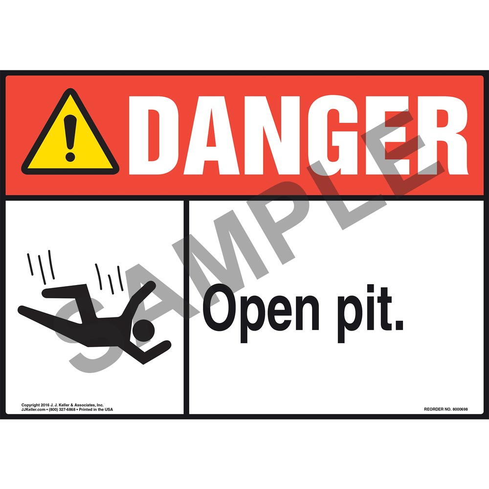 Metal//Aluminium Health /& Safety Warning UV Print Sign Danger Open Pit Sign