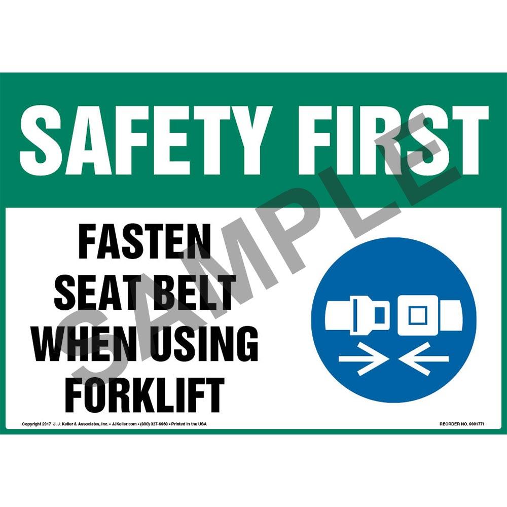 Safety First Fasten Seat Belt When Using Forklift Sign Osha Forklift Icon