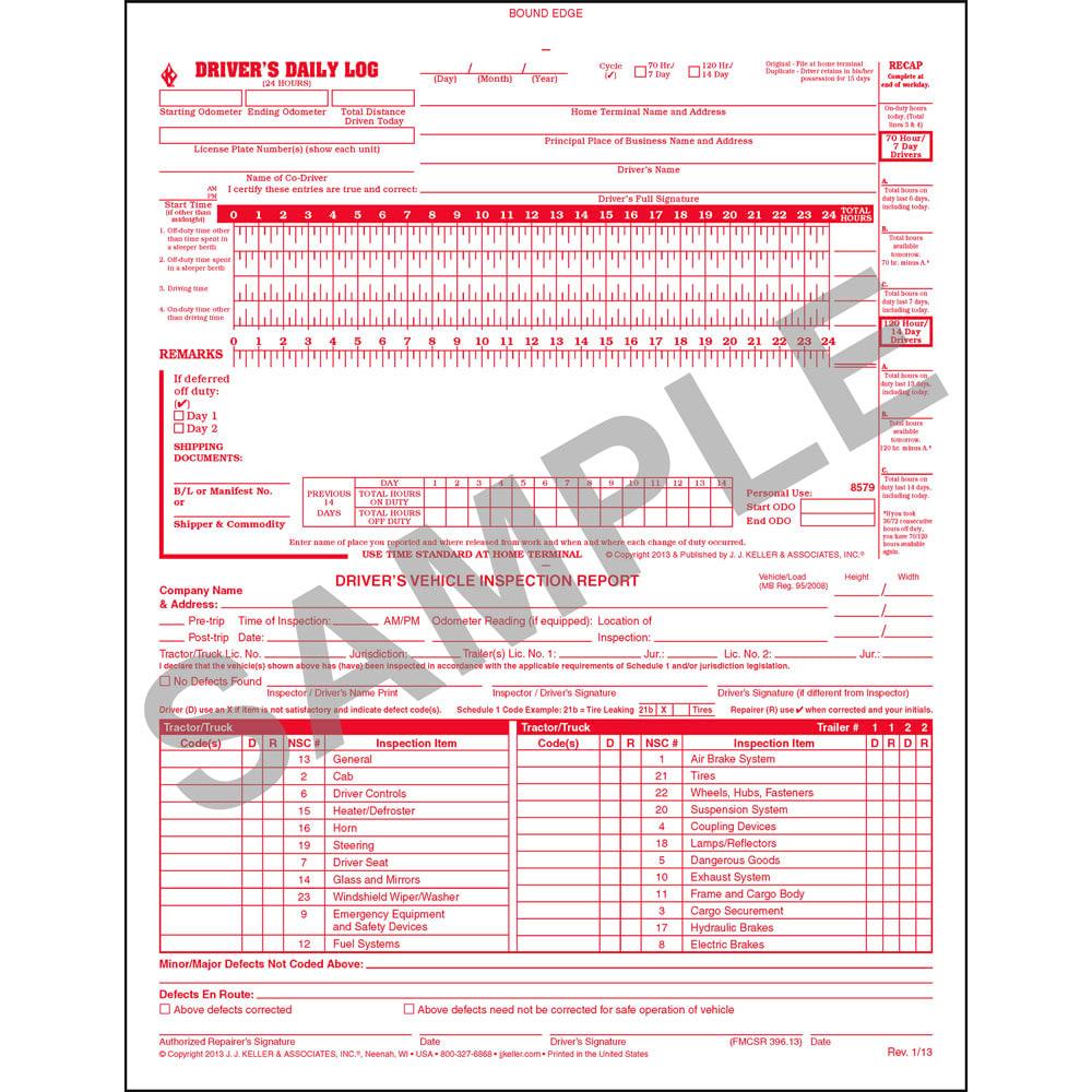 Book Format 2-Ply J.J Keller 607L 5-In-1 Drivers Daily Log Book 8-1//2 x 11 w//Carbon Pack of 10 w//Detailed DVIR