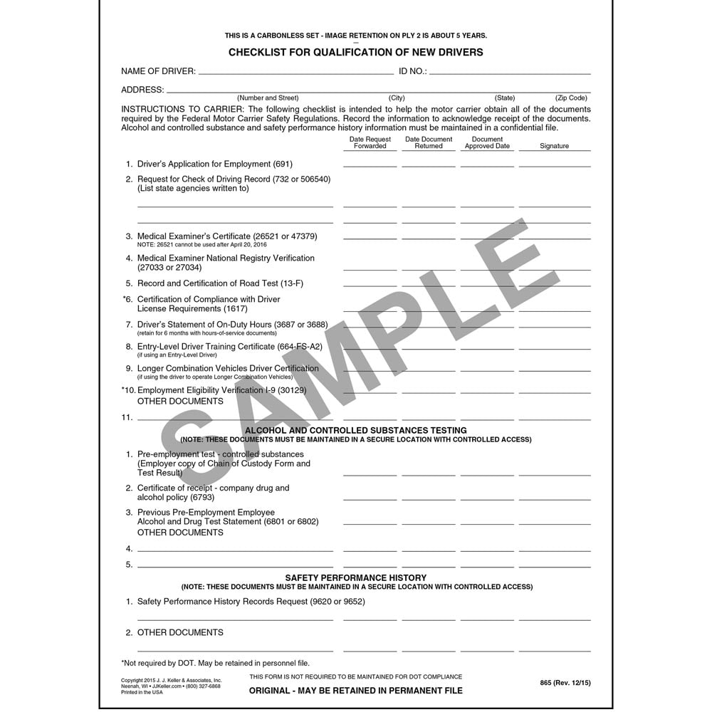 Check Sheet for Driver Qualification Forms - Snap-Out Format