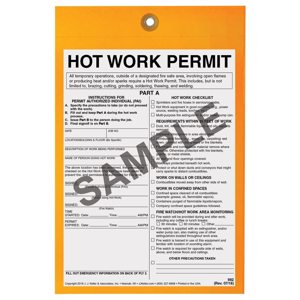 California hot work permit form for Hot work permit template free