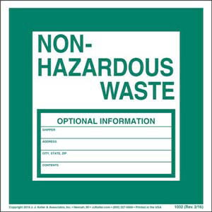 Non-Hazardous Waste Label - Paper, Individual Sheet