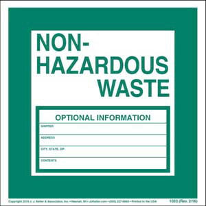 Non-Hazardous Waste Label - Vinyl, Individual Sheet