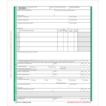 Non-Hazardous Waste Manifest - Pin-Feed Format, 6-Ply