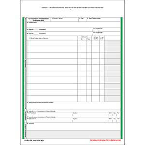 Non-Hazardous Waste Manifest Continuation Sheet - Snap-Out Format, 6-Ply