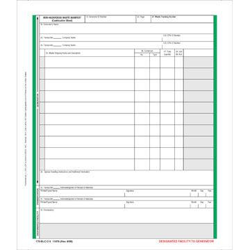 Non-Hazardous Waste Manifest Continuation Sheet - Pin-Feed Format, 6-Ply