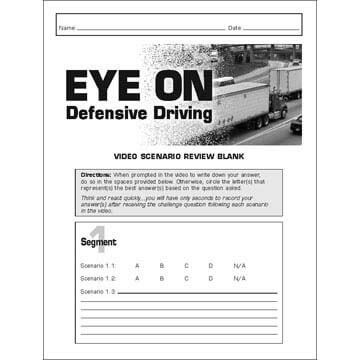 EYE ON Defensive Driving - Video Scenario Review Blanks