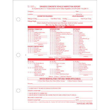 Driver's Concrete Vehicle Inspection Report, Snap-Out Format - Stock