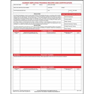 Hazmat Employee Training Record & Certification Form