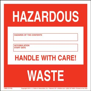 Hazardous Waste 90-Day Accumulation Label - Vinyl