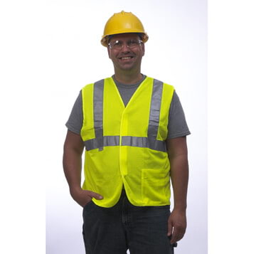 GloWear® Type R Class 2 Safety Vest - Mesh, Hook & Loop Closure, 1 Pocket
