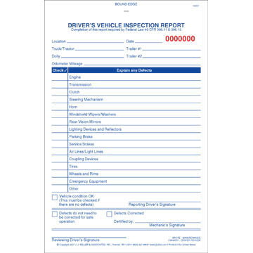 Simplified Driver's Vehicle Inspection Report - Vertical Format, 3-Ply, w/Carbon, Book Format - Stock