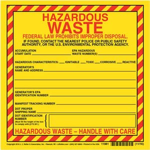Hazardous Waste Label - Vinyl, Individual Sheet
