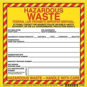 Hazardous Waste Label - Paper, Continuous Format
