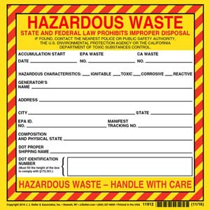 California Hazardous Waste Label - Vinyl, Continuous Format