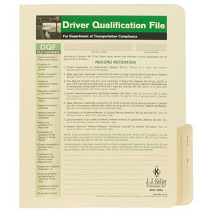Driver Qualification File Folder - For Single-Copy Forms
