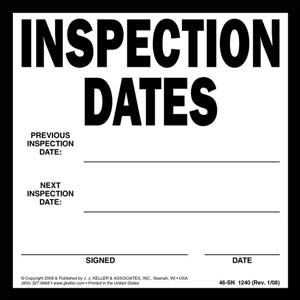 Inspection Dates Label