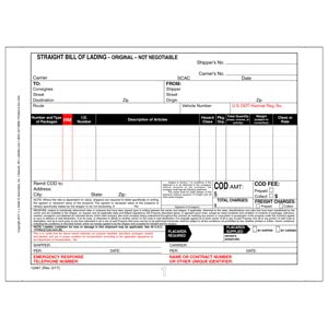 Straight Bill of Lading - Continuous, 3-Ply, Carbonless, 9-1/2' x 7'
